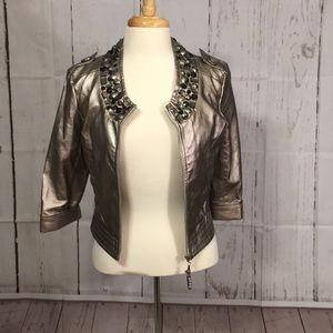 Jackets & Blazers - Faux leather jacket with beaded collar